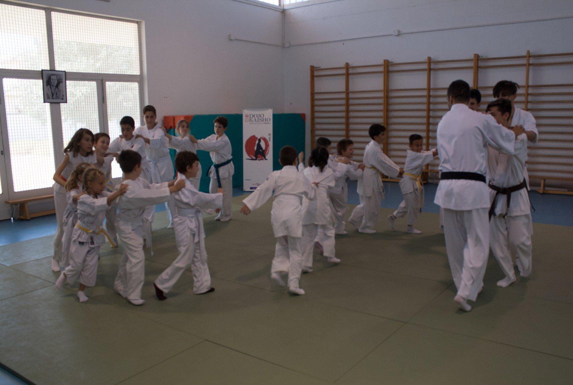 niños jugando a karate en escuela dojo kaisho